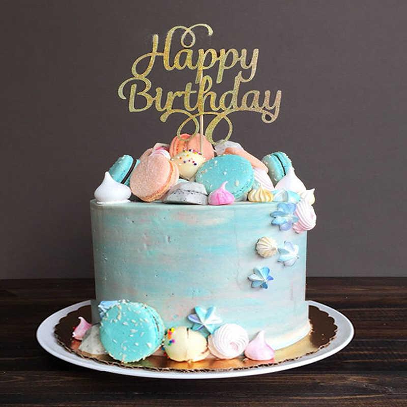 Awe Inspiring 1Pc Glitter Cake Topper Happy Birthday Letter Printing Cake Topper Birthday Cards Printable Benkemecafe Filternl