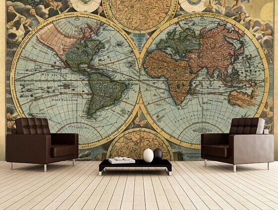 Retro Art Woonkamer : Custom art behang oude kaart d retro behang voor de woonkamer