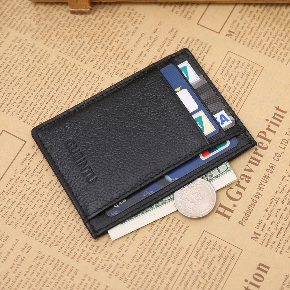 Ultrathin Genuine Leather Card Holder Black Brown Quality Soft Business Fashion ID Credi ...