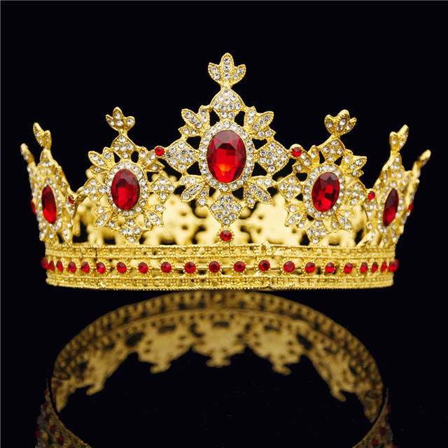 Baroque Royal Queen King Tiara Crown for Male Wedding Hair Jewelry Red Crystal Round Diadem Gold Head Accessories Bride