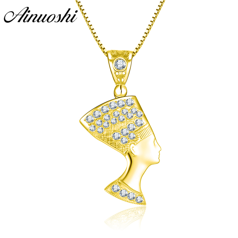 100% Wahr Ainuoshi 10 Karat Solide Gelb Gold Anhänger Klassische Ägyptische Königin Anhänger Religiöse Glauben Christian Schmuck 3,1g Separaten Anhänger
