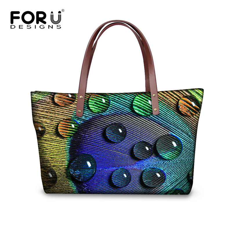 FORUDESIGNS New Women Handbags Peacock Printing Shoulder Bag Vintage Shopping Bag Large Capacity Ladies Handbags Bolsa Feminina forudesigns casual women handbags peacock feather printed shopping bag large capacity ladies handbags vintage bolsa feminina page 7