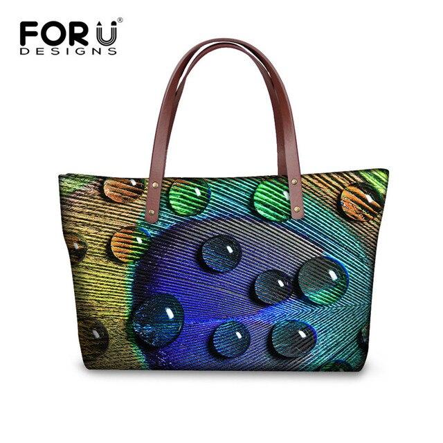 FORUDESIGNS New Women Handbags Peacock Printing Shoulder Bag Vintage Shopping Bag Large Capacity Ladies Handbags Bolsa Feminina