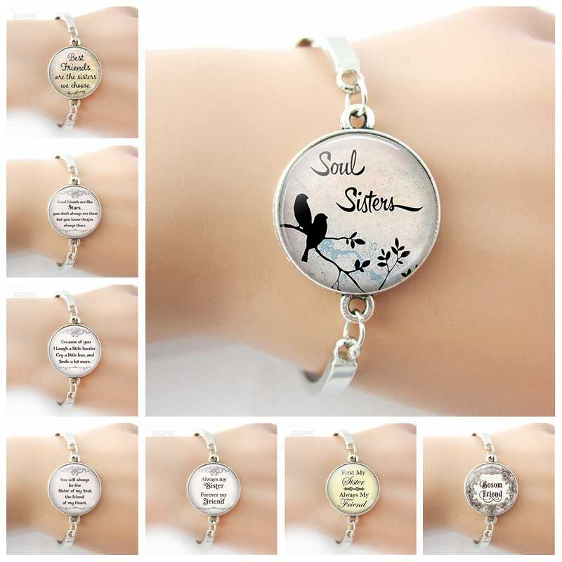 2019 Hot Sister Bracelet Friendship Jewelry Women Glass Dome Silver Platted Alloy Charm Bracelet BFF Gifts for Best Friends