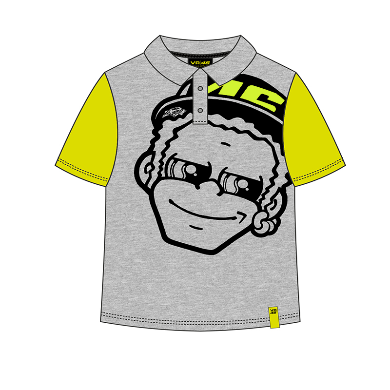 Valentino Rossi VR46 Moto GP Kids Polo Shirt 46 the doctor Cartoon Grey