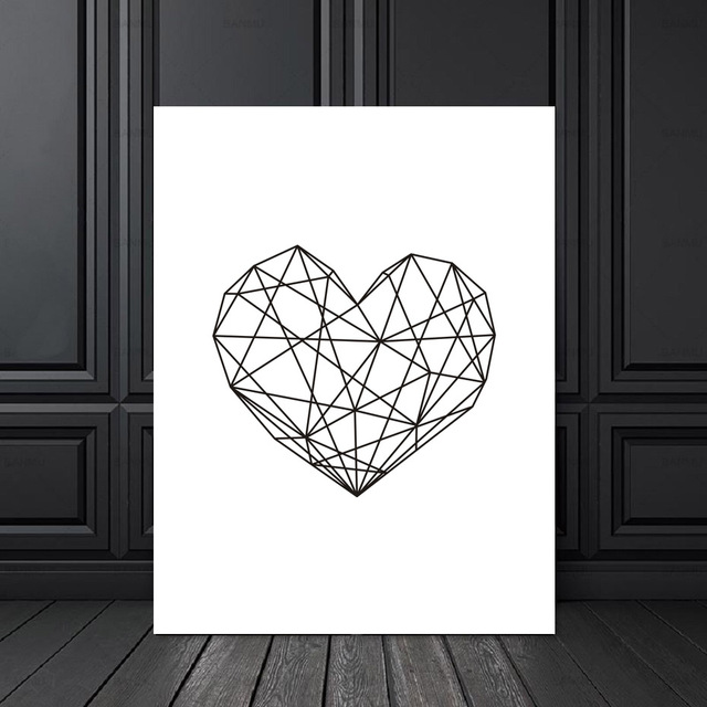 Minimalist Geometric Heart Modern Printable Scandinavian Poster Canvas Art Oil Paintings Wall Picture for Living Room Home Decor
