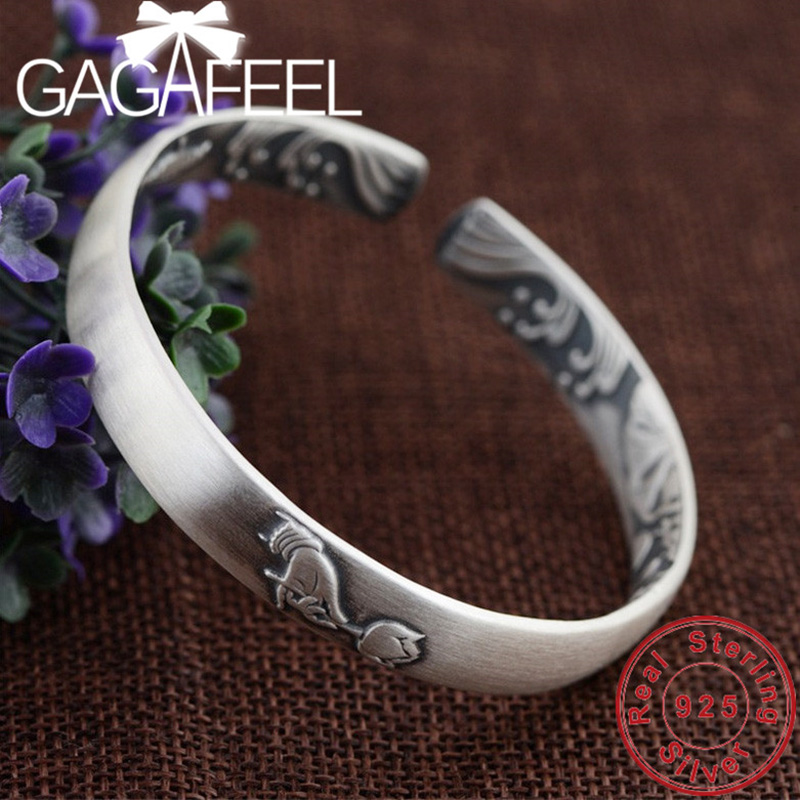 GAGAFEEL Hand Blossom Bracelets 100 Genuine 999 Sterling Silver Bangles for Women Ladies Can Adjust The