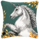 CX0671 white horse Tapestry pillow Crafts Cushion Cross Stitch Printed Crewel Yarn Pillow Case Cross Stitch Kits Embroidery