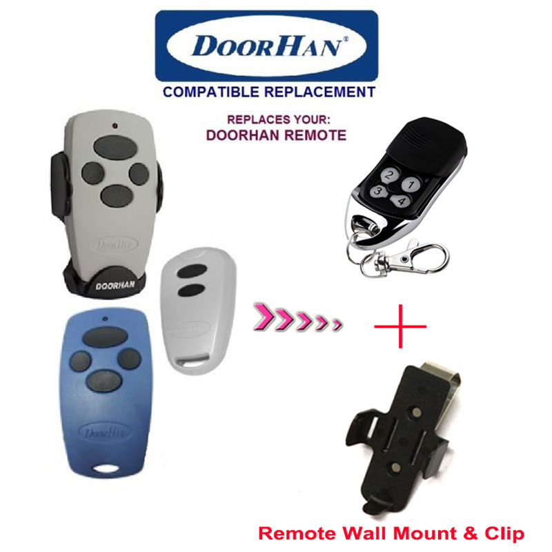 DOORHAN Replacement Rolling Code Remote Control  wall mount & clip included