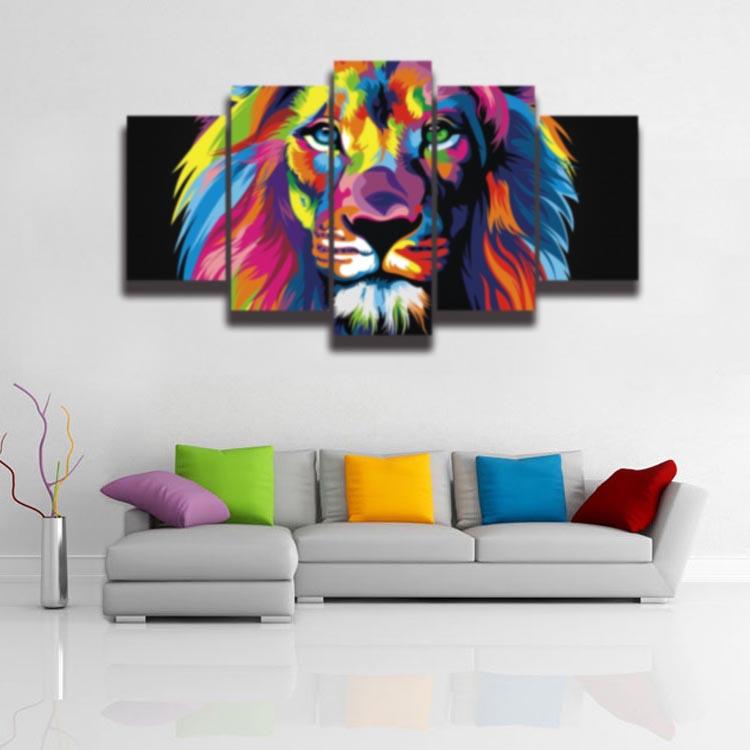 Gedruckt Moderne Cartoon Bunte Lion Tier Malerei Auf Leinwand 5 Panel  Babyraum Wandgestaltung Leinwand Kunstdruck Poster In Gedruckt Moderne  Cartoon Bunte ...
