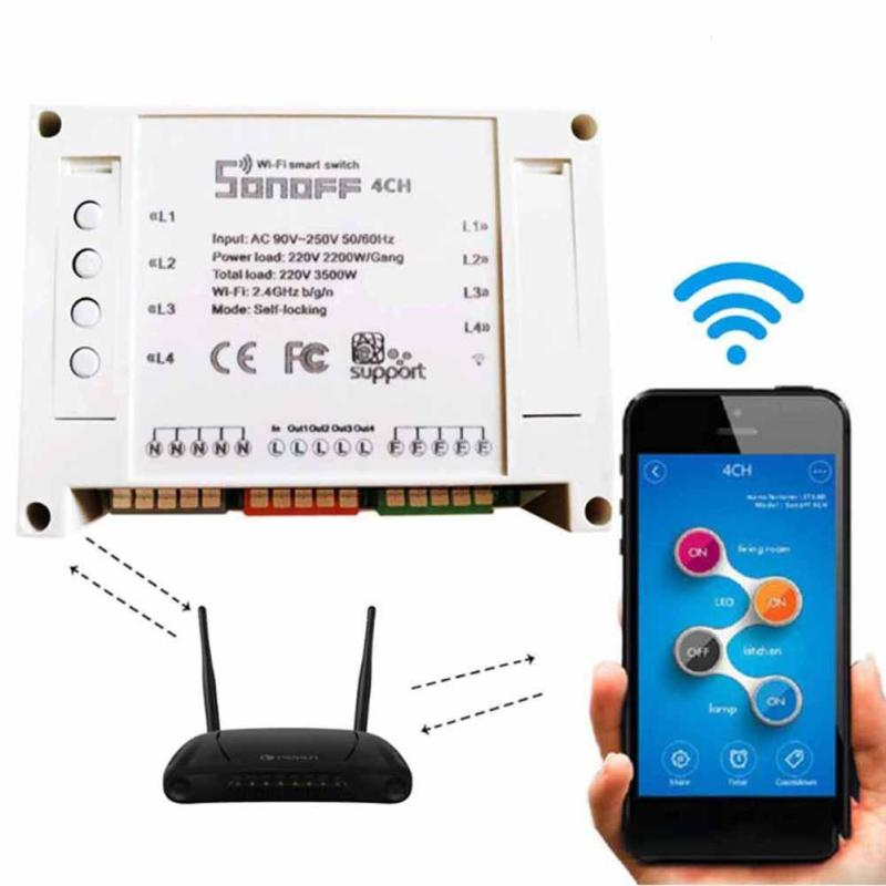 Sonoff 4ch Channel Remote Control smart WiFI Switch Home Automation Module on/off Wireless Timer Diy Switch Din Rail Mounting sonoff smart wifi switch 4 gang 4ch wireless switches din rail mounting home automation on off phone remote control 10a 2200w