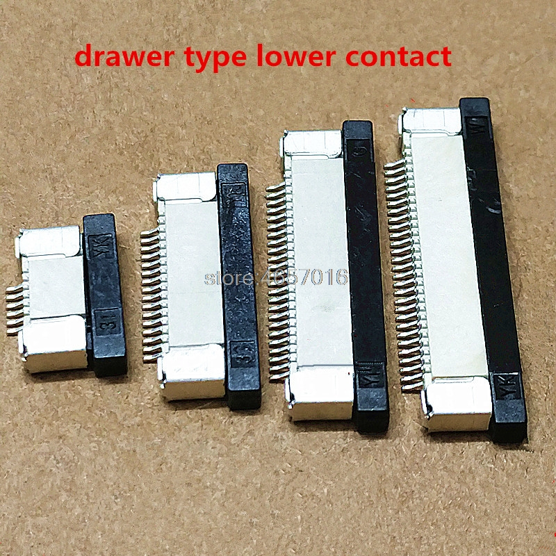 10Pcs FPC Connector socket FFC 0.5MM Drawer lower Contact type 4/5/6/8/10/12/14/16/18/20/24/26/28/30/32/34/36/40/45/50/54/60P
