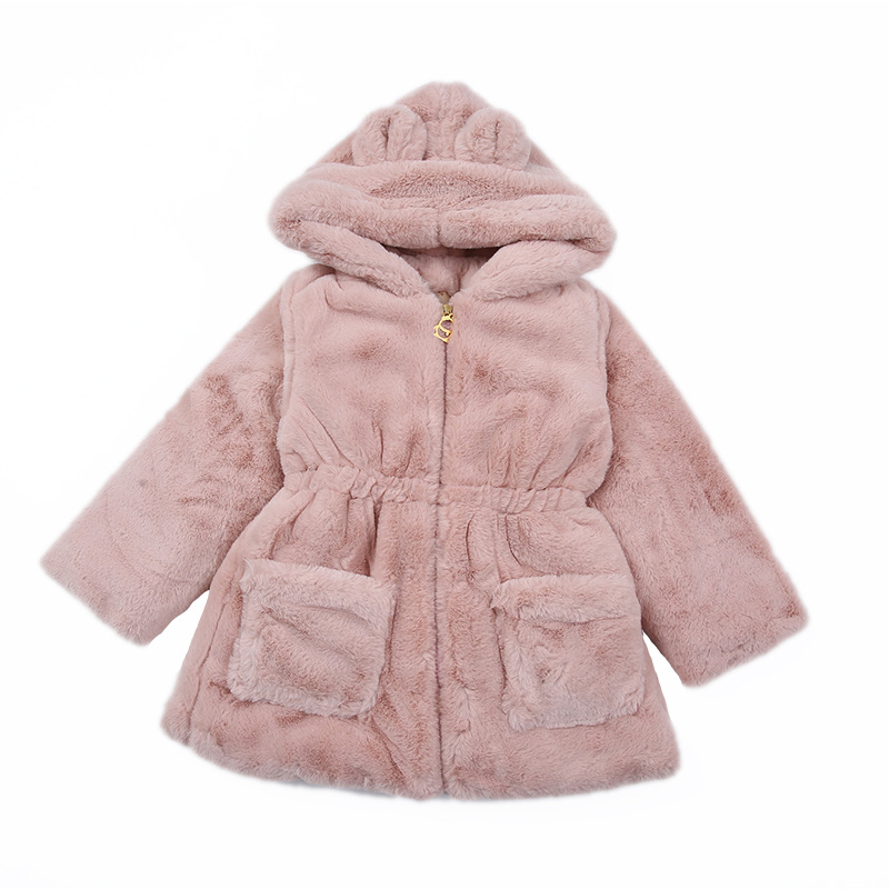 2019 winter children's clothes girls wool solid thicken zipper hooded baby girl blends for girls kids casual warm woolen coats