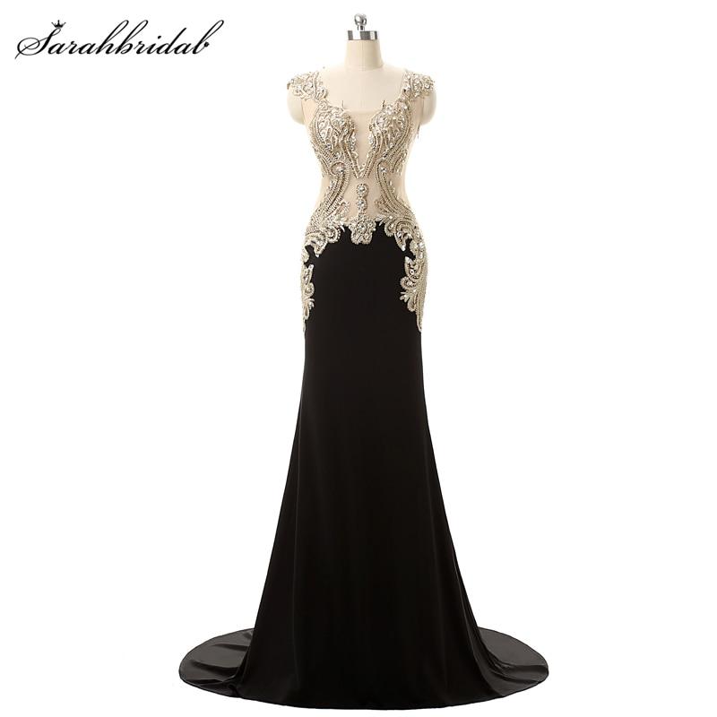 Sexy Illusion Back Royal Blue Mermaid   Prom     Dresses   Fashion Crystal Gold Embroidery Long Evening Gown Vestido De Festa YD003