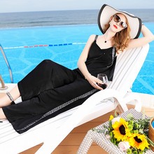 Black V-Neck Spaghetti Strap T-Shirts And Wide Leg Ankle Length Pants 2 Piece Suits 2019 New Women Summer Casual