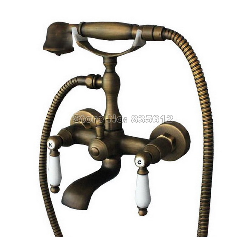 Antique Brass Bathroom Wall Mounted Clawfoot Bathtub Faucet Dual Holder Dual Control Mixer Taps with Handheld Shower Wtf025 luxury wall mounted antique brass clawfoot bathtub faucet telephone style bath shower water mixer tap with handshower