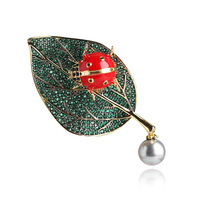 XIHA Animal Ladybug Mirco Pave CZ Zircon Pins and Brooches Green Crystal Pearl Leaf Brooch for Women Men Suit Accessories