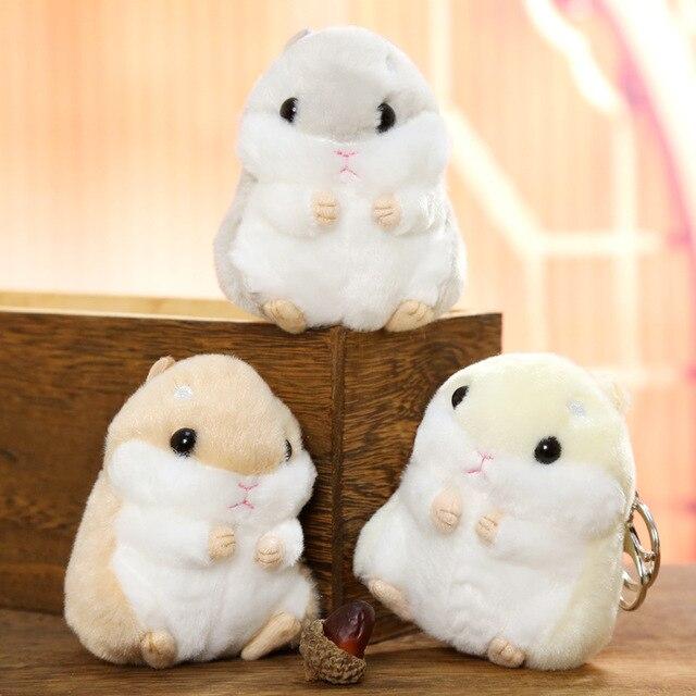 Super Bonito Mini Boneca Hamster Chaveiros Chaveiros Faux Rabbit Fur Pompom Fofo Bugigangas Carro Bolsa Pingente Chian Chave Anel Titular