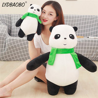 LYDBAOBO 1PC 68CM Cute Panda With Green Scarf Stuffed Cotton Plush Doll Soft Animals Pillow Toys Birthday Gift To Children Girl