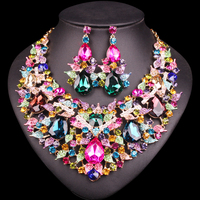 Beautiful Leaf Indian Jewellery Bridal Jewelry Set Rhinestone Party Wedding Prom Costume Accessories Necklace Earring Set