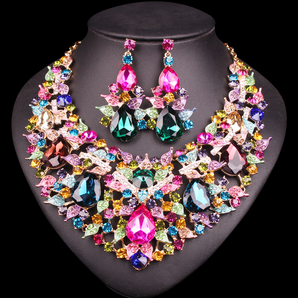 Bridal classics necklace sets mj 259 - Beautiful Leaf Indian Jewellery Bridal Jewelry Set Rhinestone Party Wedding Prom Costume Accessories Necklace Earring Set