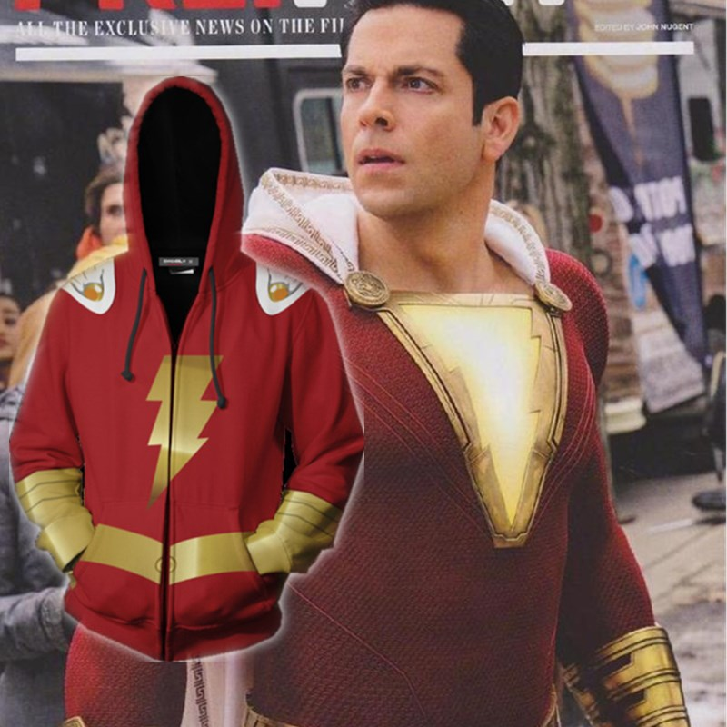 2019 New movie Shazam cosplay Costume Superhero Cosplay Sweatshirt Hoodie Jacket Coat