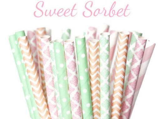 Pastel Dots Enthusiastic 25 Straws ps001 Vintage Peach And Pink,baby Shower Pure And Mild Flavor Easter Sweet Sorbet Multipack Easter Chevron Mint