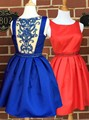 2016 Luxury Beaded Cocktail Dress Women Clothes Gown vestidos Blue Red Satin Knee Length Ball Short Prom Dresses Plus Size