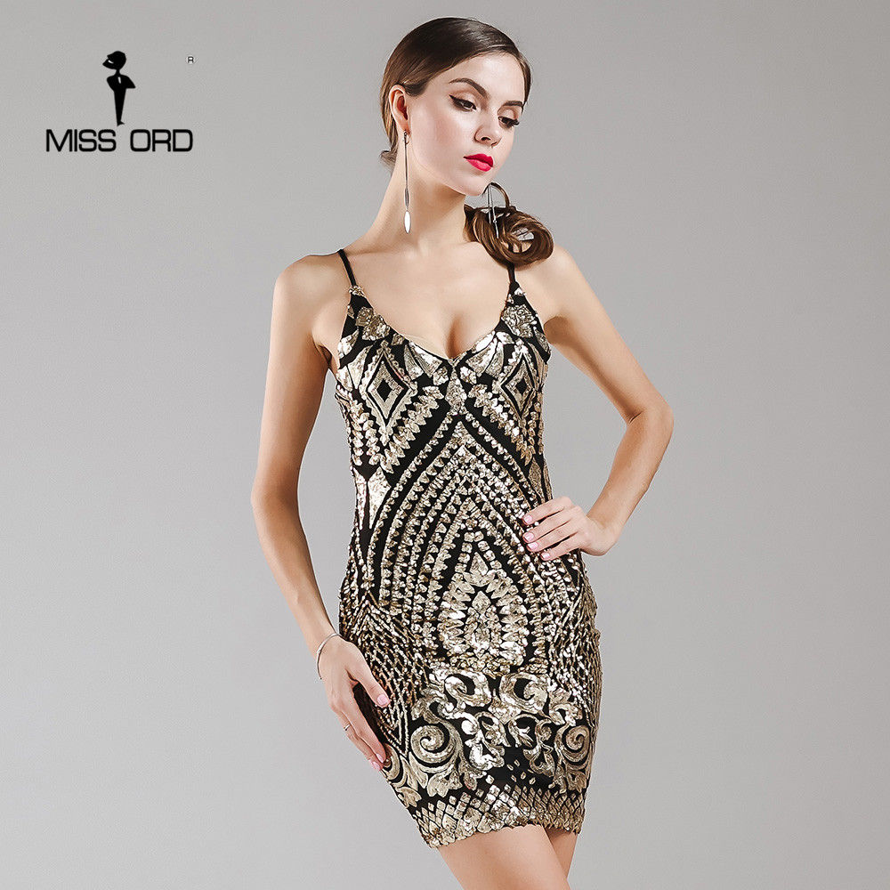Where to buy christmas dresses - Missord 2017 Sexy Sleeveless V Neck Sequin Dress Backless Christmas Party Dress Ft4951 China
