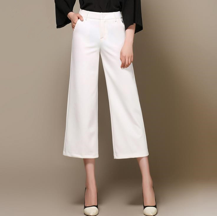 2018 new women's wide leg   pants   high waist stretch large size   pants   ol   capris