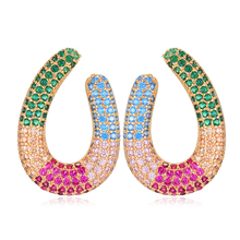 SisCathy Luxury Full Multicolor Mirco Paved Cubic Zirconia Naija Wedding Earrings For Women Fashion Jewelry Big Stud Earrings цена