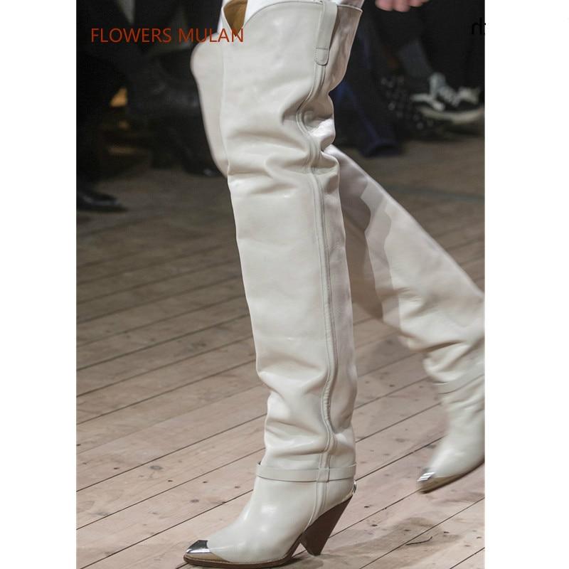 Femme Automne Bout Longue Pic as Haute 2018 Bottes Cuir Fer Talons Pic En Designer Pistes Mode As Femmes Hiver Chaussures Pointu Véritable Nouveau 4wBqUvg