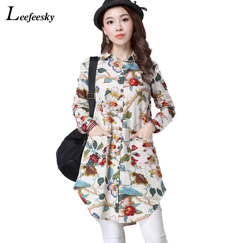New Fashion Women Autumn Tops And Blouses 2017 Floral Print Long Sleeve Blouse Cotton Linen