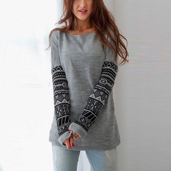 Hirigin Women s Casual Crew Neck Long Sleeve O Neck Gray Cotton Warm Pullover Long Tops