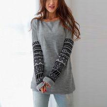 Hirigin Women's Casual Crew Neck Long Sleeve O-Neck Gray Cotton Warm Pullover Long Tops Sweatshirt