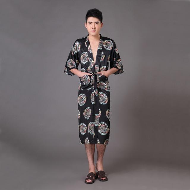 e16b4fbc98 New Black Men s Faux Silk Kimono Bathrobe Gown Summer Casual Nightgown  Chinese Dragon Sleepwear Size S M L