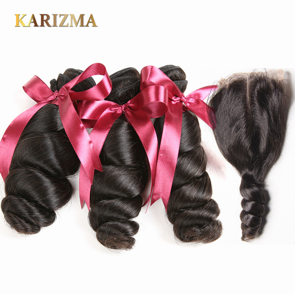 Brazilian Loose Wave 3 Bundles With Closure 100% Human Hair Weave Bundles With Lace Closure Karizma Non Remy Brazilian Hair