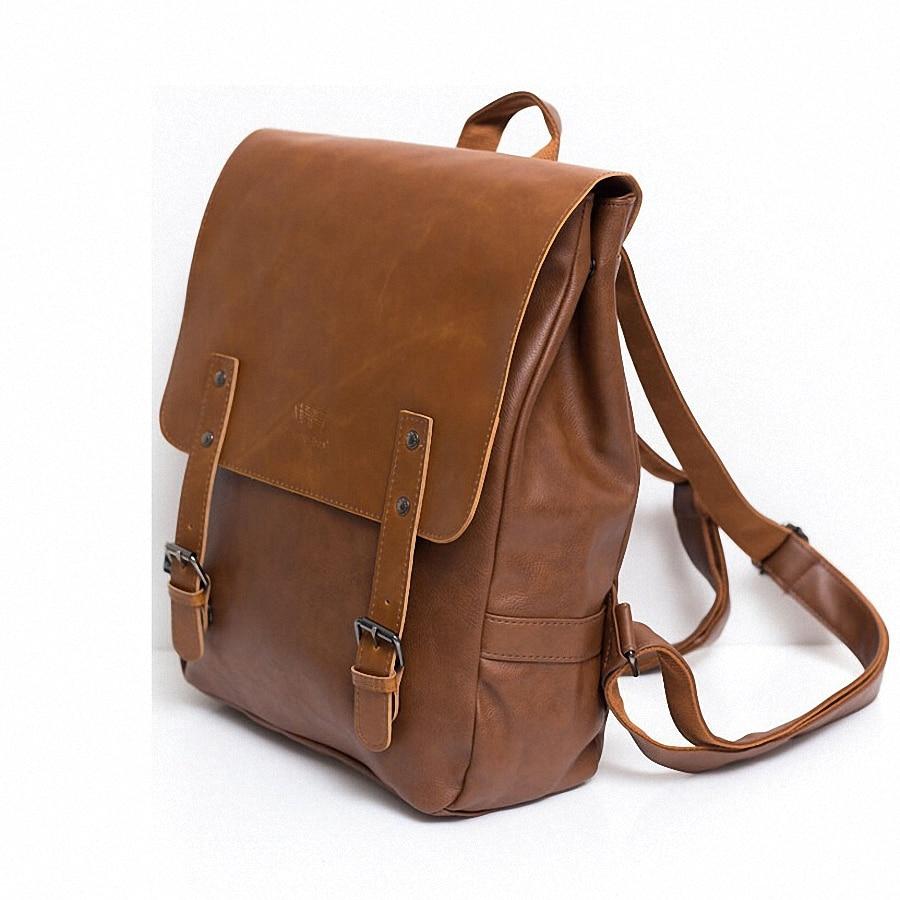 Vintage PU Leather Men Leisure Backpacks Preppy Стиль Mochila - Рюкзактар - фото 3