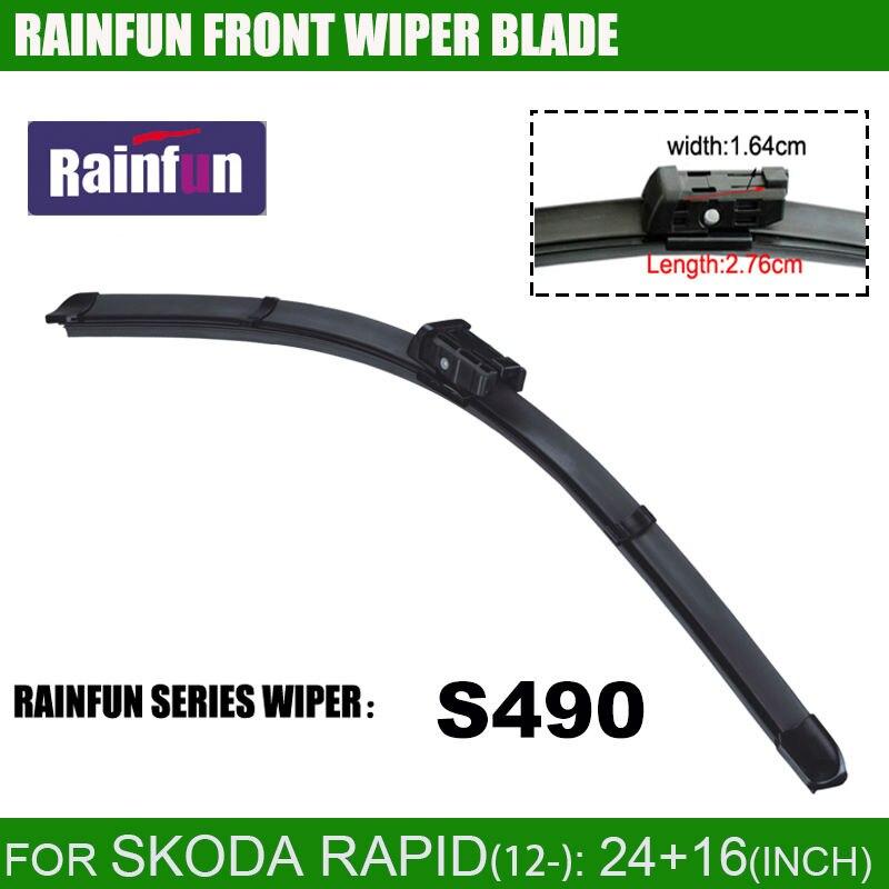 RAINFUN специальный автомобиль стеклоочистителя для SKODA RAPID 2012 года, 24+ 16 дюймов с высоким качеством натурального каучука, 2 шт. в партии