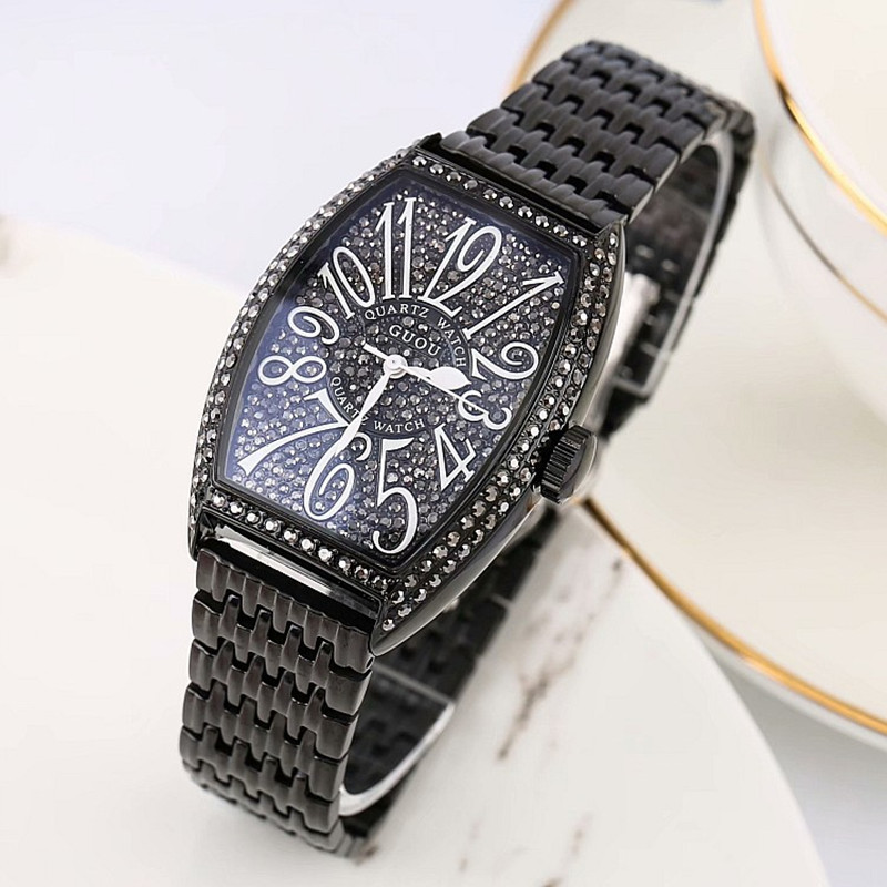 Super Black Women Watch Women Rose Gold Quartz Dress Watches Rhinestone Barrel Casual Women Watches montre femme montre femmeSuper Black Women Watch Women Rose Gold Quartz Dress Watches Rhinestone Barrel Casual Women Watches montre femme montre femme