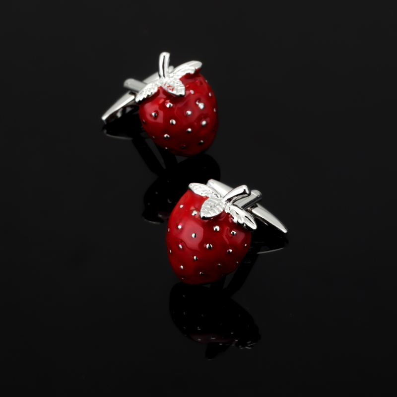 XK366 Luxury shirt Silver Red strawberry cufflink for mens Brand cuff buttons cuff links High Quality abotoaduras Jewelry