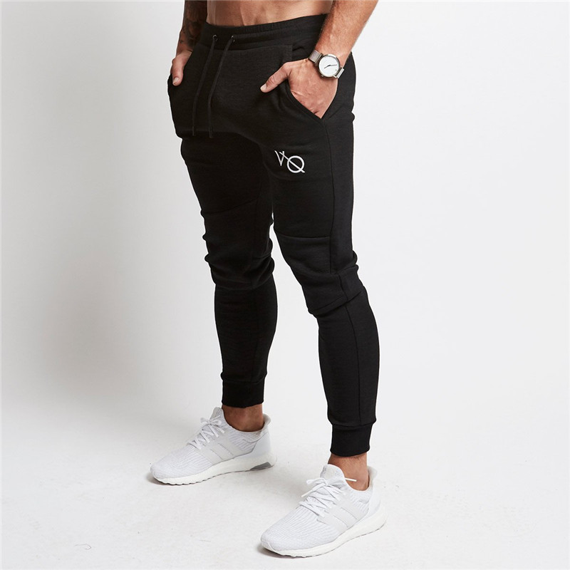 2018 hombres con corte Slim liso Joggers Pantalones negro