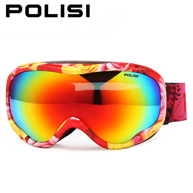 POLISI Men Women Ski Snowboard Goggles Double Layer Lens Snow Skate Glasses Winter Polarized Anti Fog Skiing Snowmobile Eyewear цена 2016