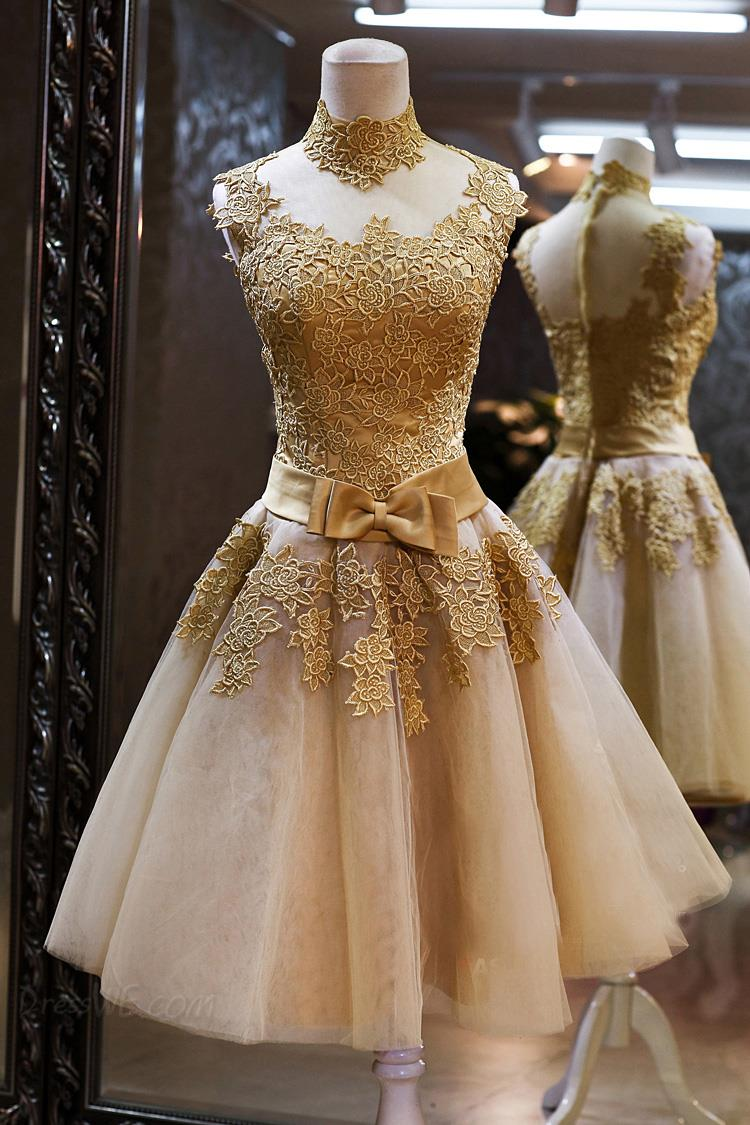 Champagne 2018 Elegant Cocktail Dresses A-line Cap Sleeves Tulle Appliques Lace Party Plus Size Homecoming Dresses