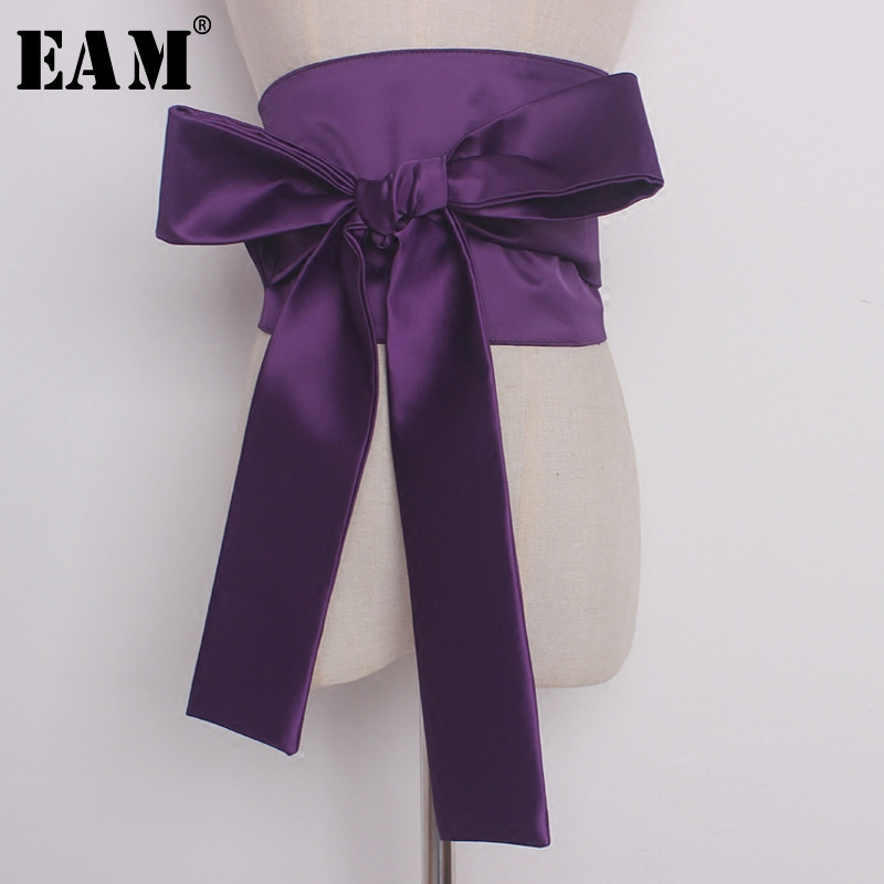 [EAM] 2020 Fashion Tide Autumn New Black Wide Wide Belt Waist Decoration Bow Belt Adjustable All-match Temperament S599