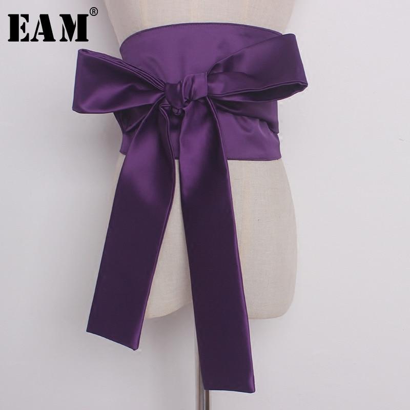 [EAM] 2020 Fashion Tide Autumn New Black Wide Wide Belt Waist Decoration Bow Belt Adjustable All-match Temperament S599