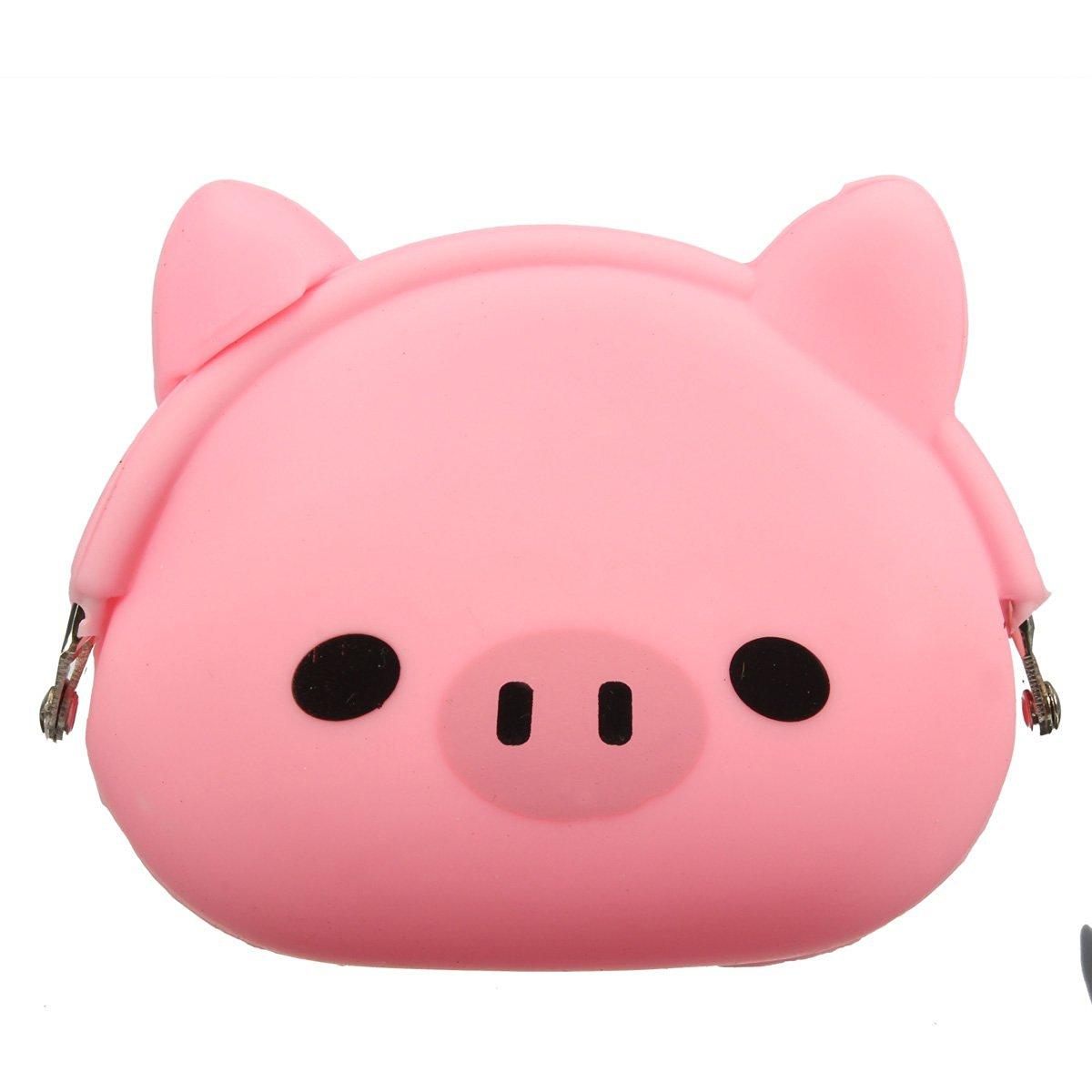 -Women Girls Wallet Kawaii Cute Cartoon Animal Silicone Jelly Coin Bag Purse Kids Gift Pink Pig asds women girls wallet kawaii cute cartoon animal silicone jelly coin bag purse kids gift huskies