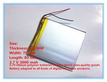 3.7V 3000 mAh Polymer Lithium Battery LiPo For GPS Tablet PC 407080