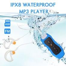 Ipx8 impermeável natação mp3 player rádio com clipe de fone de ouvido para mergulho esporte ao ar livre 4g mp3 player de música com função de rádio fm