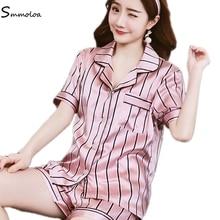 Smmoloa Short Sleeve Striped Silk Pajamas Set Women Summer Pyjama